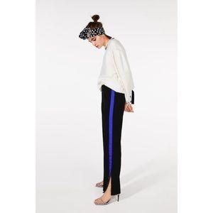 NWOT Zara black velvet pant w/ blue stripe & slit/